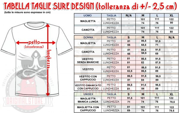 Tabella Taglie T-shirt Sure Design Yoga